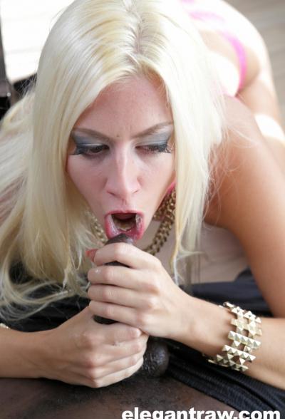 Блондинка заглатывает черный член 15 фото