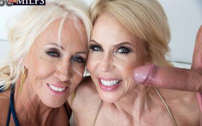 Две зрелые блондинки развлекаются с молодым самцом 15 фото