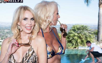 Две зрелые блондинки развлекаются с молодым самцом 3 фото