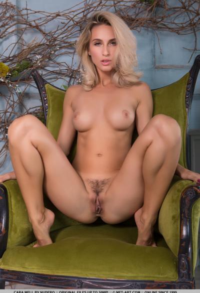 Прекрасная блондинка Cara Mell с волосатой киской 11 фото